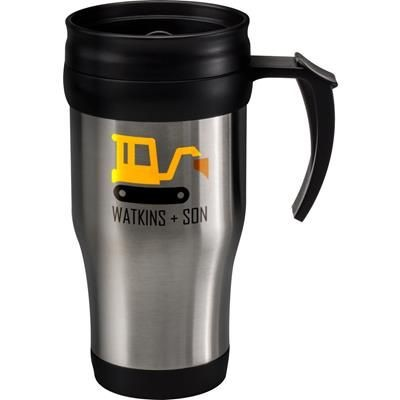 STAINLESS STEEL METAL THERMAL INSULATED MUG.