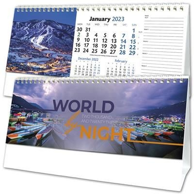 WORLD BY NIGHT DESK CALENDAR.