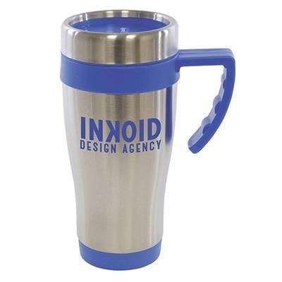 OREGON STAINLESS STEEL METAL TRAVE MUG in Blue.