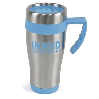 OREGON STAINLESS STEEL METAL TRAVE MUG in Cyan.