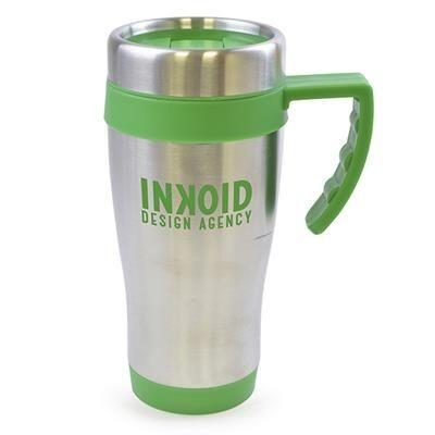 OREGON STAINLESS STEEL METAL TRAVE MUG in Green.
