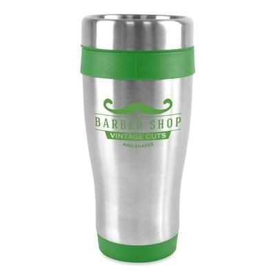 ANCOATS STAINLESS STEEL METAL TUMBLER with Green Trim.