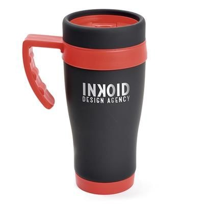 OREGON BLACK STAINLESS STEEL METAL TRAVEL MUG with Red Trim.