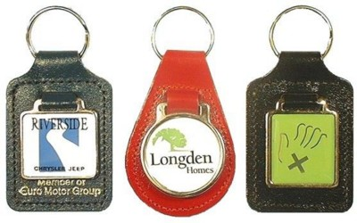 MEDALLION KEYRING in Recycled Bonded Leather or Real Leather.