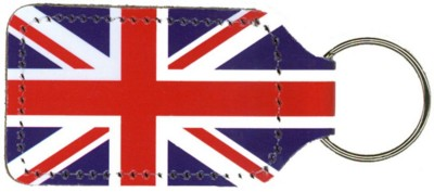 UNION JACK KEYRING in Recycled Bonded Leather.