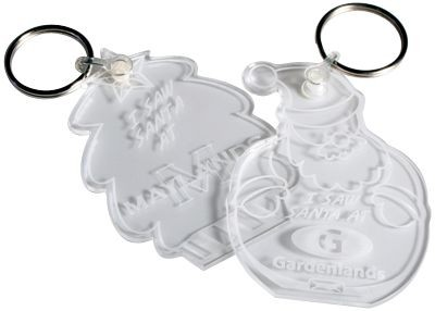 CLEAR TRANSPARENT ACRYLIC KEYRING.