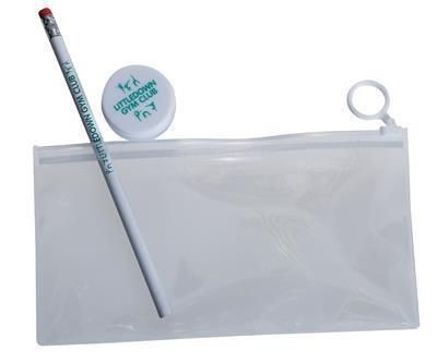 CLEAR TRANSPARENT PENCIL CASE with Full Colour Printed Insert.