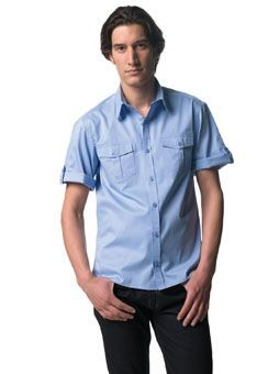 RUSSELL COLLECTION SHORT SLEEVE TWILL ROLL SHIRT.