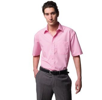 RUSSELL COLLECTION SHORT SLEEVE EASY CARE COTTON POPLIN SHIRT.