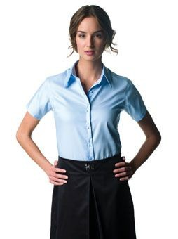 RUSSELL COLLECTION LADIES SHORT SLEEVE ULTIMATE NON-IRON SHIRT.