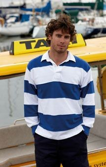 FRONT ROW SEWN STRIPE RUGBY SHIRT.