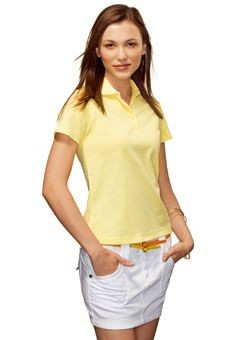 HANES LADIES ELEGANCE TOP PIQUE POLO SHIRT.