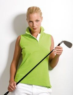 KUSTOM KIT GAMEGEAR LADIES PROACTIVE SLEEVELESS PIQUE POLO SHIRT.