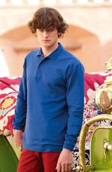 FRUIT OF THE LOOM LONG SLEEVE PREMIUM PIQUE POLO SHIRT.
