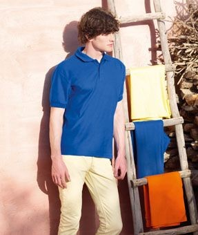 FRUIT OF THE LOOM HEAVY PIQUE POLO SHIRT.
