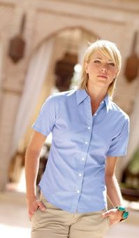 FRUIT OF THE LOOM LADIES SHORT SLEEVE OXFORD SHIRT.