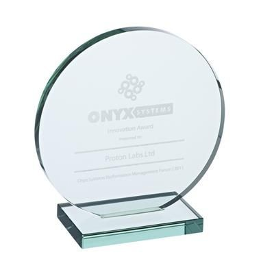 LARGE ROUND JADE GLASS AWARD PLAQUE.