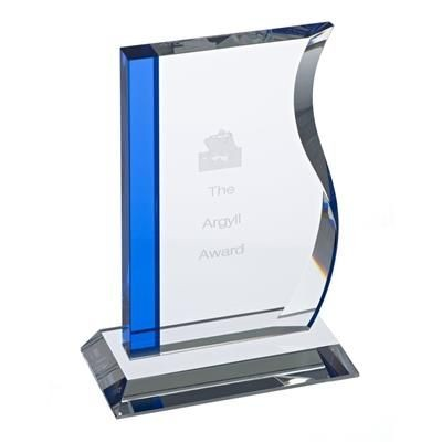 ARGYLL CLEAR TRANSPARENT CRYSTAL AWARD with One Blue Line Edge.