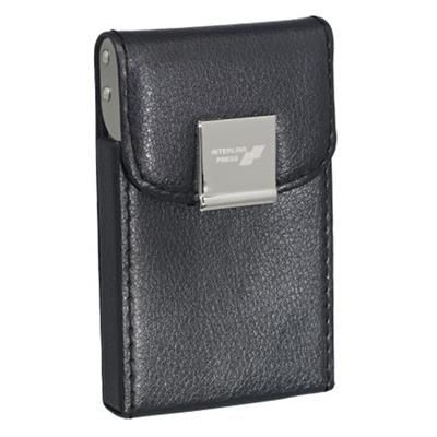 NOVARA GRAINED PU CARD CASE in Black with Polished Silver Clip.