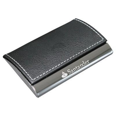 GENEVA GRAINED PU BUSINESS CARD HOLDER in Black.