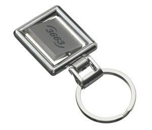 XENON SQUARE SPINNING KEYRING in Silver Metal.