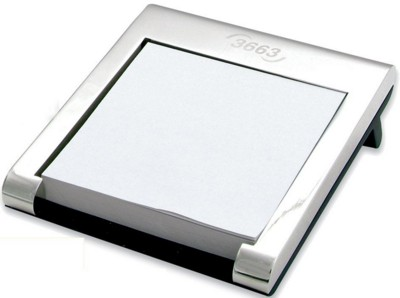 TORINO METAL PAPER TRAY in Shiny Silver Metal with Black Rubber Base.
