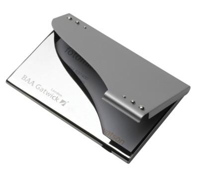 WINDSOR BUSINESS CARD POCKET HOLDER in Silver.
