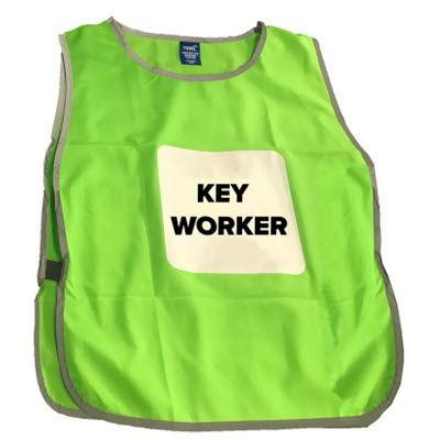 PRINTED KEYWORKER TABARD with Reflective Border.