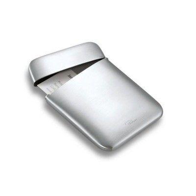 PHILIPPI CUSHION POCKET BUSINESS CARD HOLDER in Silver Brushed Finish.