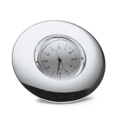 PHILIPPI SCROLL SPINNING PHOTO FRAME & CLOCK COMBINATION in Polished Silver Finish.