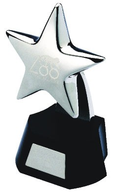 STAR TROPHY AWARD in Silver Plated Metal Finish.