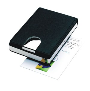 GENEVA EXECUTIVE LEATHER BUSINESS CARD POCKET HOLDER in Nickel Plated Metal & Soft Black Leather Fin