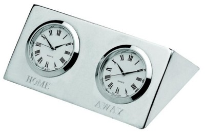 TWO CITY EXECUTIVE TIME ZONE DESK CLOCK in Palladium Nickel Plated Finish.