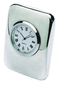 EXECUTIVE CUSHION PILLOW DESK CLOCK in Silver Plated Metal Finish.