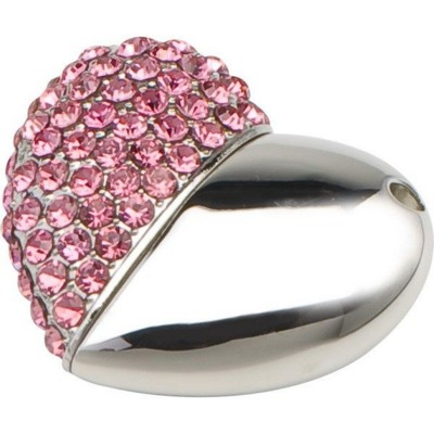 BLING HEART SHAPE USB FLASH DRIVE MEMORY STICK in Silver & Pink Crystals.