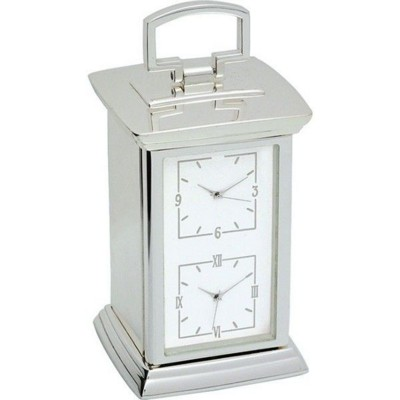 DOUBLE TIME ZONE DESK CARRIAGE CLOCK in Silver.