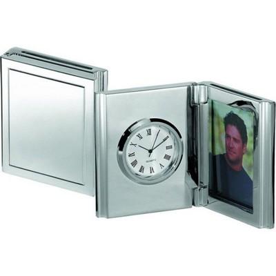 FOLDING DESK CLOCK & PHOTOFRAME in Silver.
