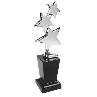 TRIPLE STAR AWARD TROPHY AWARD in Silver Chrome Plated Silver Finish.