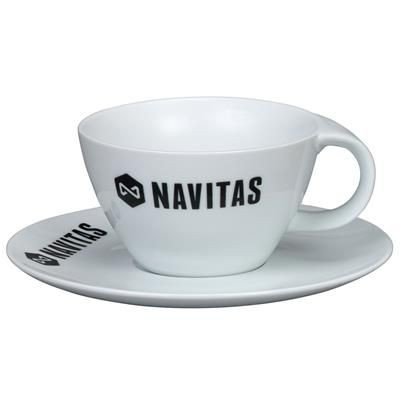 LYNMOUTH CAPPUCCINO MUG & SAUCER in White.
