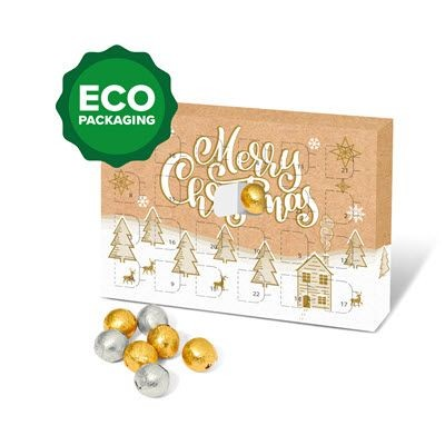 ECO ADVENT CALENDAR FILLED with Gold & Silver Foiled Chocolate Balls.