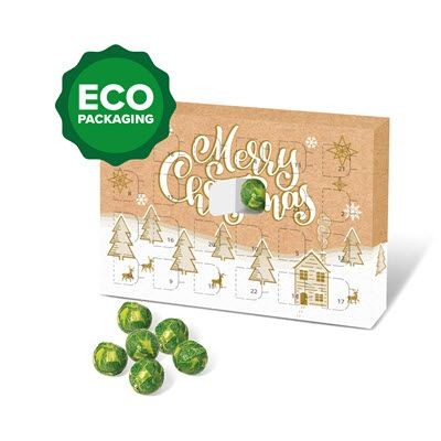 ECO ADVENT CALENDAR FILLED with Sprout Foiled Chocolate Balls.