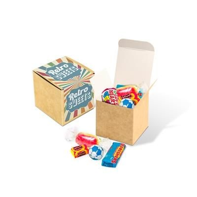 ECO KRAFT CUBE FILLED with Retro Sweets.