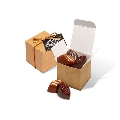 WINTER 20 ECO KRAFT CUBE FILLED with Signature Cocoa Bean Chocolate Truffles.