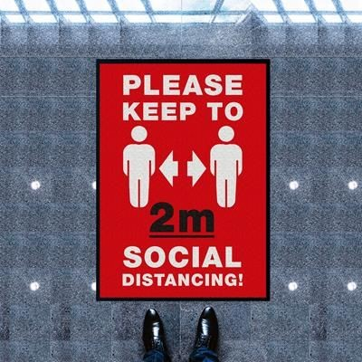 SOCIAL DISTANCING RED WORKPLACE MAT.