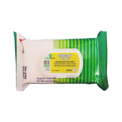 VIRAWIPE ANTIBACTERIAL CLEANING WET WIPE TISSUE PACK.