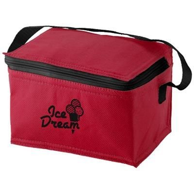 SPECTRUM 6-CAN NON-WOVEN COOL BAG in Red.