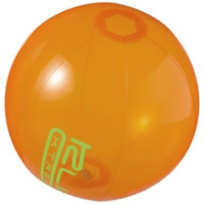 IBIZA CLEAR TRANSPARENT BEACH BALL in Clear Transparent Orange.