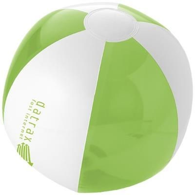 BONDI SOLID AND CLEAR TRANSPARENT BEACH BALL in Lime-white Solid.