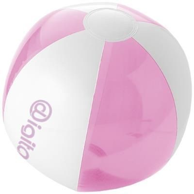 BONDI SOLID AND CLEAR TRANSPARENT BEACH BALL in Pink-white Solid.