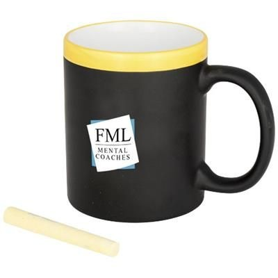 CHALK-WRITE 330 ML CERAMIC POTTERY MUG in Yellow.